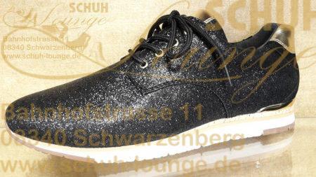 Mit diesem sportlich eleganten Sneaker, in glitzerndem schwarz und glänzenden gold, ist ein glamouröser Auftritt gewiss!