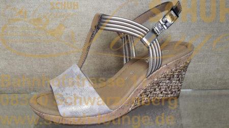In zartem rosé/metallic präsentiert sich diese hübsche Sandalette und verbreitet schon beim Anschauen pure Sommerlaune.