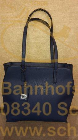 Geradlinig in Form und Farbe zeigt sich dieser dunkelblaue Shopper aus weichem, leicht strukturiertem Lederimitat.