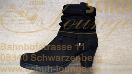 Stiefelette aus schwarzem Nubuk-Leder in lässiger Stulpenoptik.